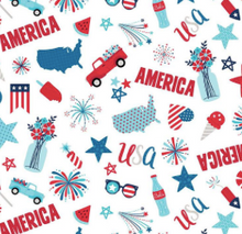 Load image into Gallery viewer, Riley Blake - Fireworks and Freedom - White - 1/2 YARD CUT