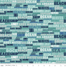 Load image into Gallery viewer, Riley Blake - Deep Blue Sea Text - Teal - 1/2 YARD CUT