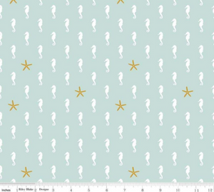 Riley Blake - Sea Horse - Mint Sparkle - 1/2 YARD CUT