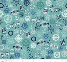 Load image into Gallery viewer, Riley Blake - Deep Blue Sea Anchors - Teal - 1/2 YARD CUT