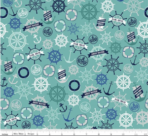 Riley Blake - Deep Blue Sea Anchors - Teal - 1/2 YARD CUT
