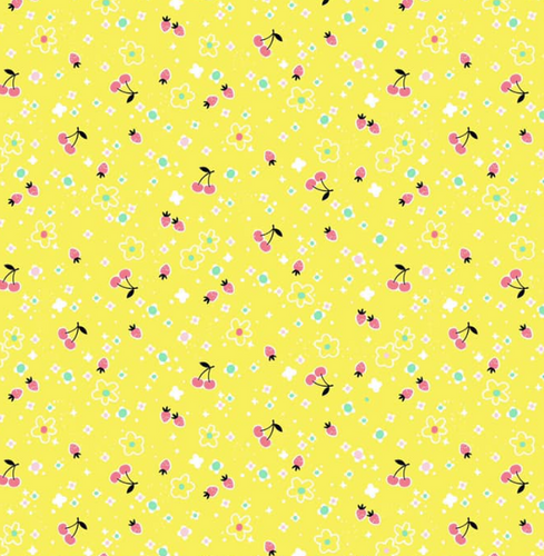 Blend Fabrics - Tiny Berries - Yellow - 1/2 YARD CUT - Dreaming of the Sea Fabrics
