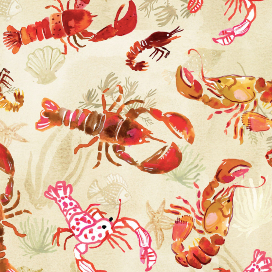 Dear Stella - Lobsters - Multi - 1/2 YARD CUT - Dreaming of the Sea Fabrics