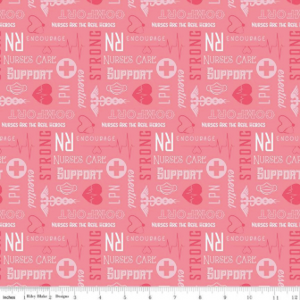 Riley Blake - Nurse - Pink - 1/2 YARD CUT