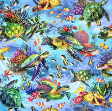 Load image into Gallery viewer, Oasis Fabrics - Sea Turtle Master - Light Blue - 1/2 YARD CUT