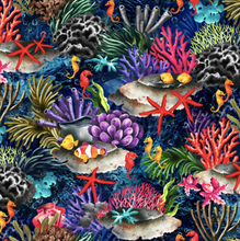 Load image into Gallery viewer, Oasis Fabrics - Coral Reef - Dark Blue - 1/2 YARD CUT