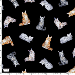Michael Miller - Paws Up! - Crafty Cats - Black - 1/2 YARD CUT
