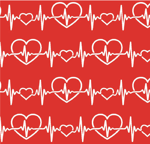 Fabric Traditions - First Responders - Red Heartbeat - 1/2 YARD CUT