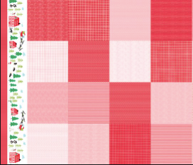 Moda Fabrics - The North Pole - Berry Christmas Patchwork Border - 1/2 YARD CUT