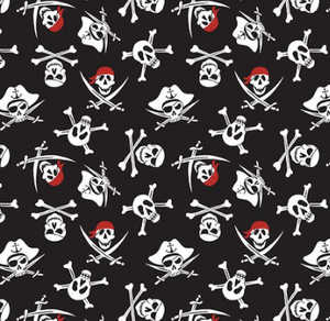 Riley Blake - Pirate Tales - Skulls Black  - 1/2 YARD CUT
