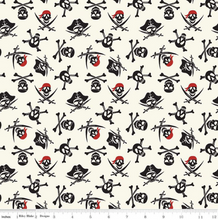 Load image into Gallery viewer, Riley Blake - Pirate Tales - Skulls Cream  - 1/2 YARD CUT