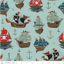 Load image into Gallery viewer, Riley Blake - Pirate Tales - Main Blue - 1/2 YARD CUT
