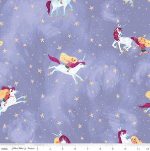 Riley Blake - Uni the Unicorn - Main Light Purple - 1/2 YARD CUT