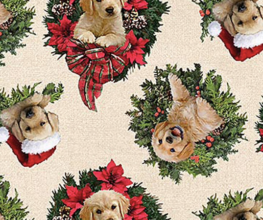 Northcott - Santa Helpers - Retrievers in Wreaths - 1/2 YARD CUT