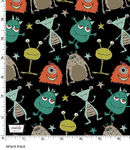 Michael Miller - Space Pals - Black - 1/2 YARD CUT