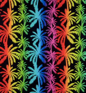 Kanvas - Breezy Palm Trees - Black - 1/2 YARD CUT
