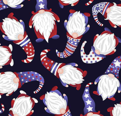 Timeless Treasures - Navy Gnome of the Free & the Brave - 1/2 YARD CUT