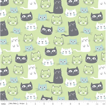 Load image into Gallery viewer, Riley Blake - Purrfect Day - Main Green - 1/2 YARD CUT