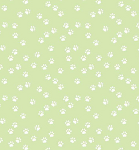 Riley Blake - Purrfect Day - Paws Green - 1/2 YARD CUT