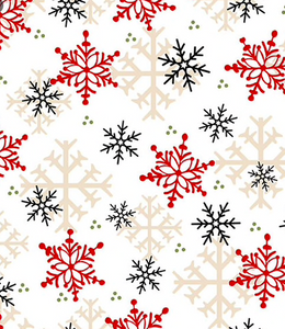 Henry Glass & Co - Timber Gnomies - White Snowflake - 1/2 YARD CUT