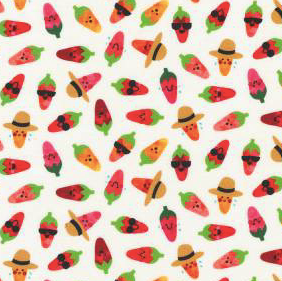 Robert Kaufman - Chili Smiles - Peppers Ivory - 1/2 YARD CUT