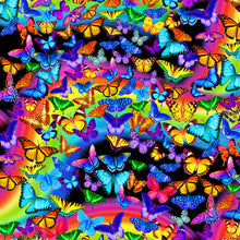 Load image into Gallery viewer, Timeless Treasures - Bright Rainbow Butterflies Flight - 1/2 YARD CUT