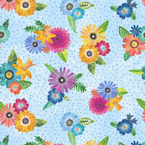 Wilmington Prints - Blue Floral Bouquets - 1/2 YARD CUT