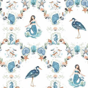 Clothworks - White By the Seashore Damask - 1/2 YARD CUT