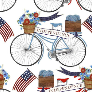 3 Wishes - American Spirit - White Bicycle Parade - 1/2 YARD CUT