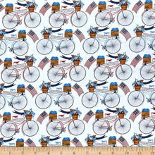 Load image into Gallery viewer, 3 Wishes - American Spirit - White Bicycle Parade - 1/2 YARD CUT