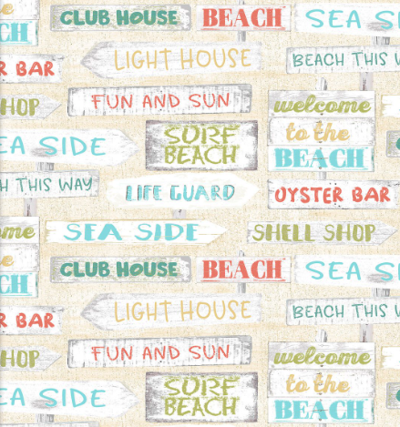 life guard sea side club house fun and sun oyster bad beach travel signs welcome 3 wishes fabric