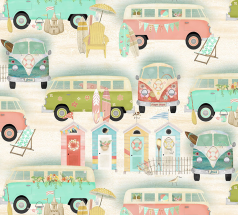 beach buses travel 3 wishes fabric sand summer surfing surfer surf boards sea shack chairs sand fabric