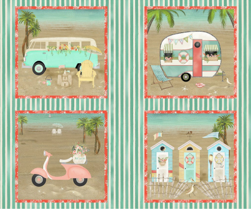 beach travel camper bus van life scooter vespa Volkswagen beach shacks stripes block patch panel sand waves ocean 3 wishes fabric