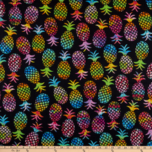 Load image into Gallery viewer, Kanvas - Black Pineapple Paradise - 1/2 YARD CUT