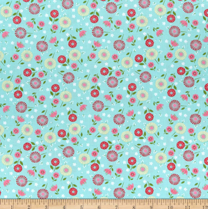 Wilmington Prints - Adventure Time - Teal Floral Toss - 1/2 YARD CUT
