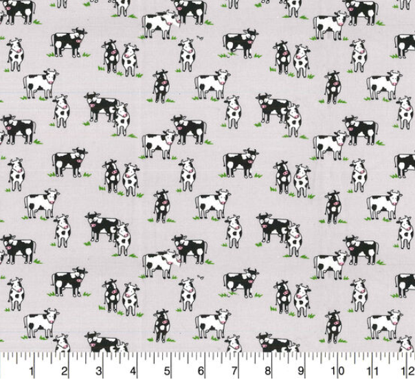 Fabric Traditions - Country Cows Gray - 1/2 YARD CUT