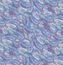 Load image into Gallery viewer, feathers blue purple white celestial journey 3 wishes fabric