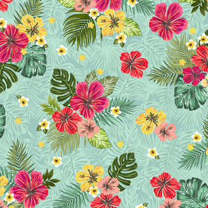 Windham Fabrics - Hibiscus Freeze - Aqua - 1/2 YARD CUT