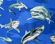 Load image into Gallery viewer, Hoffman - Royal Sharks - 1/2 YARD CUT