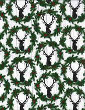 Load image into Gallery viewer, Timeless Treasures - Wreath Deer Heads - 1/2 YARD CUT