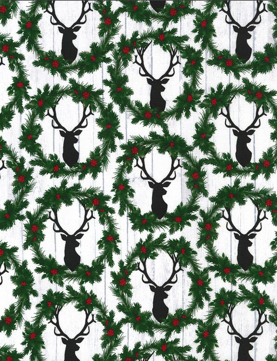 Timeless Treasures - Wreath Deer Heads - 1/2 YARD CUT