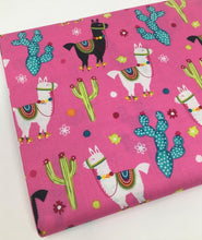 Load image into Gallery viewer, End of Bolt - Pink Llama and Cactus - BY THE 1/2 YARD