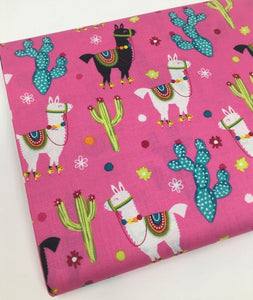 End of Bolt - Pink Llama and Cactus - BY THE 1/2 YARD