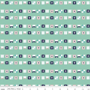 Riley Blake - Seaside Flags - Teal - 1/2 YARD CUT