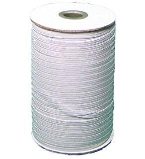 "1/4"" white braided elastic 200  yard roll"