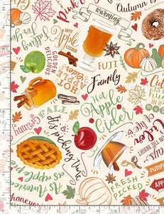 Timeless Treasures - Apple Harvest Foods - 1/2 YARD CUT
