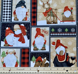 Henry Glass & Co - Timber Gnomies - Gnome Patchwork - 1/2 YARD CUT
