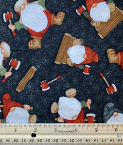 Henry Glass & Co - Timber Gnomies - Black Tossed Gnomes - 1/2 YARD CUT