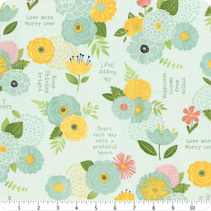 Wilmington Prints - Keep Shining Bright - Florals and Sentiments - Aqua (68512) - 1/2 YARD CUT