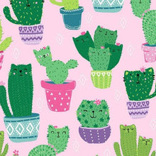 Load image into Gallery viewer, Timeless Treasures - Cactus Cats - Pink - 1/2 YARD CUT